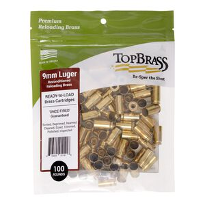Top Brass 9mm Luger Reconditioned Brass 100 Count Bag