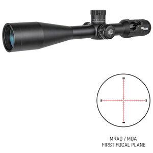 SIG Sauer Tango4 6-24x50 Riflescope Illuminated MRAD Milling Reticle 30mm Tube .10 MRAD Adjustments Side Parallax First Focal Plane CR2032 Battery Black