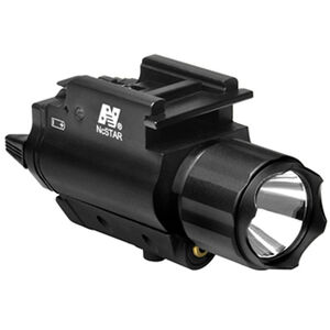NcSTAR Flashlight and Red Laser Pistol 200 Lumen CREE LED CR123A Batteries Quick Release Mount Aluminum and Reinforced Nylon Black