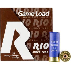 """RIO Ammunition Super Game HV Load 12 Gauge Ammunition 2-3/4"""" Shell #7.5 Lead Shot 1-1/8oz 1350fps"""