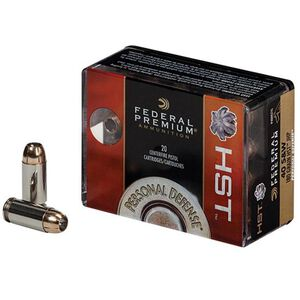 Federal Personal Defense .40 S&W Ammunition 20 Rounds HST JHP 180 Grains 1,010 Feet Per Second