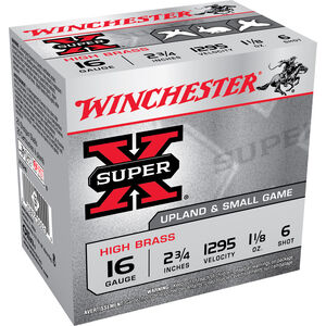 """Winchester Super-X 16ga 2-3/4"""" #6 Shot 1-1/8oz 25 Rnd Box"""