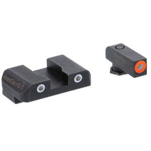 AmeriGlo Pro-GLO Combination Sight Set GLOCK 17/19/22/23/24/26/27/33/34/35/37/38/39 Orange Outline/Green Tritium Front Green Tritium 2 Dot White Out Line Rear Night Sights Steel
