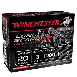 "Winchester Long Beard XR Ammunition 10 Rounds 20 Gauge 3"" #6 Lead Shot 1-1/4 Ounce 1000fps"