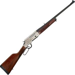 """Henry Long Ranger Deluxe Lever Action Rifle .243 Win 20"""" Barrel 4 Rounds with Sights Engraved Receiver Walnut Stock Nickel/Blued Finish"""