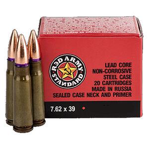 Red Army Standard 7.62x39mm Ammunition 20 Rounds 122 Grain Full Metal Jacket Steel Cased Bi-Metal Jacket