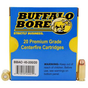 Buffalo Bore .45 ACP Ammunition 20 Rounds +P JHP 200 Grains