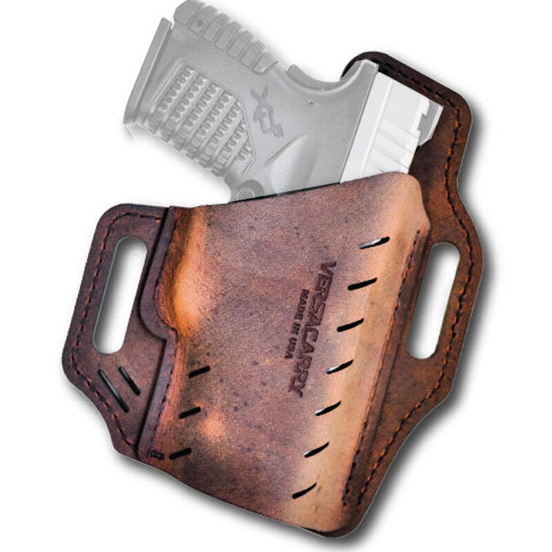 """Versacarry Guardian Holster GLOCK 42/43 Springfield XDS and Similar Size 3 OWB Belt Slide 1.5"""" Belt Right Hand Water Buffalo Leather Distressed Brown G3BRN"""