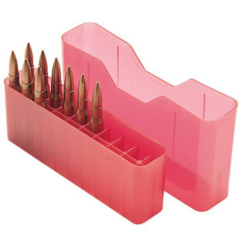 MTM Case-Gard J-20 Series Rifle Ammo Box Large Rifle Holds 20 Rounds Clear Red J-20-L-29