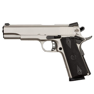 """Rock Island Armory Rock Series Full Size 1911 Semi Auto Pistol .45 ACP 5"""" Barrel 8 Rounds Dovetail Front Sight/Fixed Rear Sights Combat Polymer Grips Matte Nickel"""