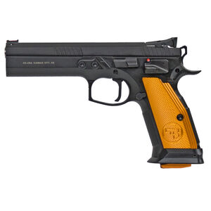 "CZ 75 Tactical Sport Orange 9mm Luger Semi Auto Pistol 5.23"" Barrel 20 Rounds Steel Frame Aluminum Orange Grips Matte Black"