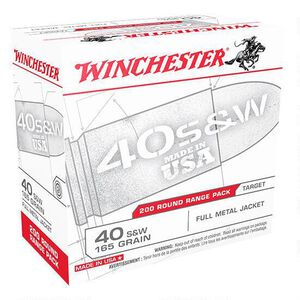 Winchester USA .40 S&W Ammunition 600 Rounds, FMJ, 165 Grain