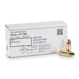 MEN 9mm NATO Ammunition 50 Rounds FMJ 124 Grains