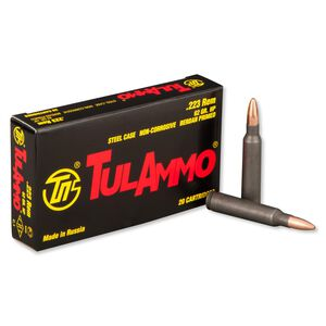 TulAmmo .223 Remington Ammunition, 20 Rounds, Steel Case HP, 62 Grains