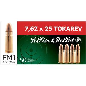 Sellier & Bellot 7.62x25 Tokarev Ammunition 50 Rounds FMJ 85 Grains SB762TOK