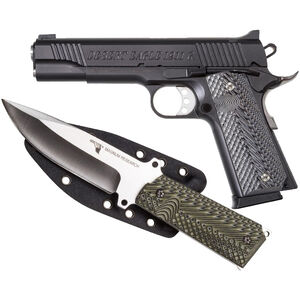 """Magnum Research Desert Eagle 1911 G with Knife Full Size Semi Auto Pistol .45 ACP 5"""" Barrel 8 Rounds Fixed Sights G10 Grips Carbon Steel Frame/Slide Black Finish"""