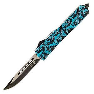"Templar Knife Slim Teal Maiden OTF Knife 3.5"" Black SS Plain Drop Point Blade OTF Push Button Opening Pocket Clip Glass Breaker Teal and Black Aluminum Handle"