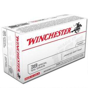 Winchester USA .38 Special Ammunition 500 Rounds, JSP, 125 Grains