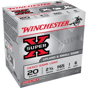 "Winchester Super-X Heavy Game 20 Gauge Ammunition 25 Rounds 2.75"" #6 Lead Shot 1 Ounce XU20H6"