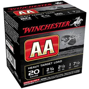 """Winchester AA Heavy Target Load 20 Gauge Ammunition 25 Rounds 2-3/4"""" #7.5 Lead 1 Ounce 1165 Feet Per Second"""
