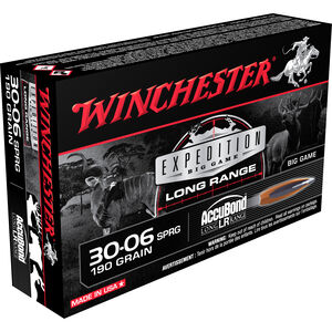Winchester Expedition .30-06 Springfield Ammunition 20 Rounds Accubond 190 Grains S3006LR