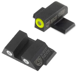 Night Fision Perfect Dot Tritium Night Sight Set Springfield Armory XD-S/XD-E Green Tritium Front/Rear Yellow Front Ring Square Notch Rear with White Ring Metal Body Black Nitride Finish