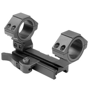 """NcSTAR 30mm AR-15 Scope Mount with Quick Release 30mm with 1"""" Adaptors Moveable Rear Ring Aluminum Anodized Black"""