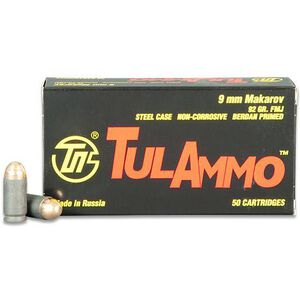 TulAmmo 9x18mm Makarov Ammunition 50 Rounds FMJ 92 Grains TA918092