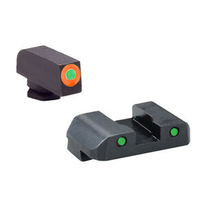 AmeriGlo Spartan Operator Night Sight Glock 17, 19, 19x, 26 Gen 5 Night Sights Green Tritium Orange Outline Front Sight