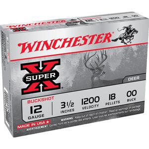 "Winchester Super-X 12 Gauge Shotshell 5 Rounds 3-1/2"" 00 Lead Buck Shot 18 Pellets"