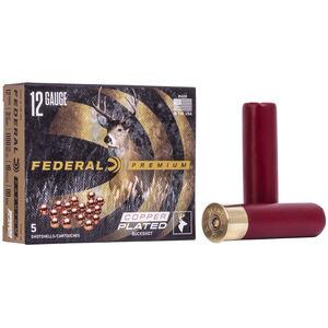 """Federal Premium Buckshot Ammunition 12 Gauge 3-1/2"""" 00 Copper Plated Buckshot 18 Pellets 1100 fps"""
