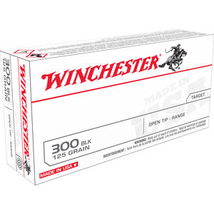 Winchester .300 Blackout Ammunition 20 Rounds Open Tip Range 125 Grains