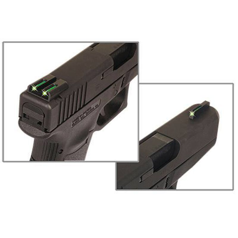 TRUGLO TFO Ruger LC9/LC380 Tritium/Fiber Front And Rear Sight Set Green CNC Machined Steel Black TG131RT2