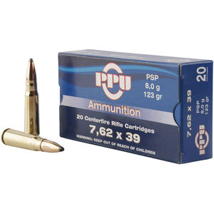 Prvi Partizan PPU Metric 7.62x39 Ammunition 20 Rounds 123 Grain PSP 2350fps