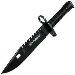 """S&W Special Ops M4/M-16 M-9 Bayonet 7.8"""" Stainless Blade Saw Back Black Nylon Handle with Sheath SW3B"""