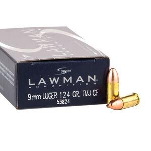 Speer Lawman Clean Fire 9mm Luger Ammunition 124 Grain Total Metal Jacket Round Nose Bullet 1090 fps