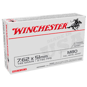 Winchester Lake City M80 7.62 NATO Ammunition 20 Rounds 149 Grain FMJ WM80