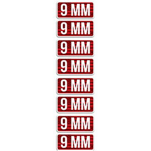 """MTM Ammo Caliber Labels 9mm 8 Pack 2.25""""x1.08"""" Red and White"""