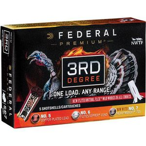"""Federal 3rd Degree 12 Gauge Ammunition 5 Rounds 3"""" #5/6/7 Mixed Pellet Three Stage Payload 1-3/4 Ounce 1250fps"""