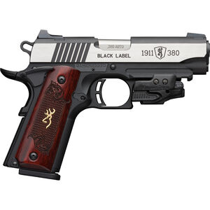 """Browning 1911-380 Black Label Medallion Compact with Laser .380 ACP Semi Auto Pistol 3.625"""" Barrel 8 Rounds Checkered Wood Grips Polymer Frame Two Tone Stainless/Black Finish"""
