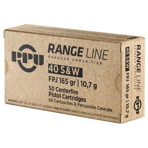 Prvi Partizan PPU Range .40 S&W Ammunition 50 Rounds 165 Grain Flat Point Full Metal Jacket 1000fps