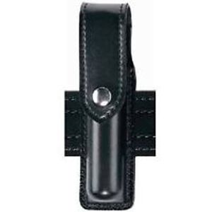 "Safariland Model 38 OC Spray Holder Standard Top Flap 1.375""x5"" SafariLaminate Chrome Snap Closure High Gloss Black 38-3-9"