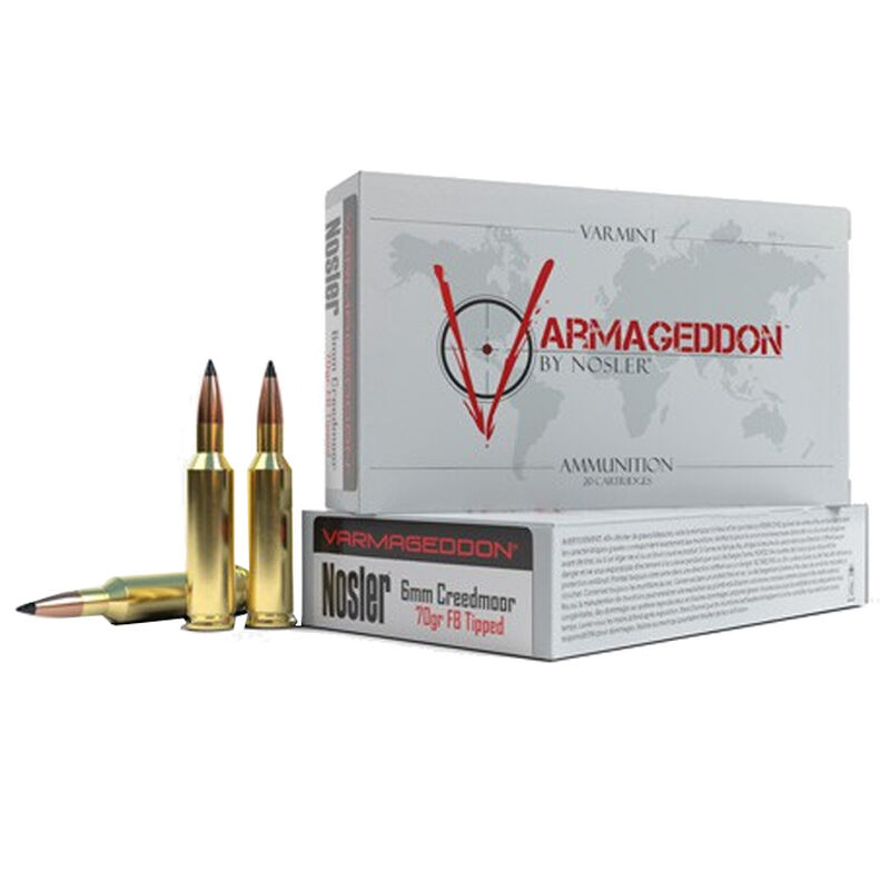 Nosler Varmageddon 6mm Creedmoor Ammunition 20 Rounds 70 Grain Varmageddon FB Tipped Bullet 3200 fps