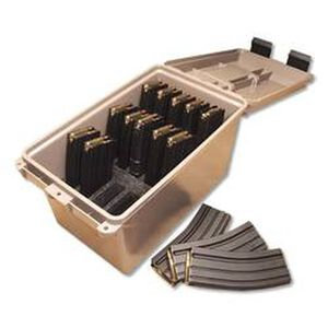MTM Tactical Magazine Can Holds Fifteen AR-15 Or M-16 Magazines Securely In Place Dark Earth Color Lockable Can