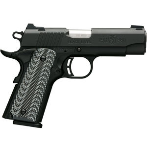 "Browning 1911-380 Black Label Pro Compact with Rail .380 ACP Semi Auto Handgun 8 Rounds 3.625"" Barrel G10 Grips Matte Black"