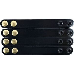 Gould & Goodrich Double Snap Belt Keepers Brass Snaps  Leather Basketweave Black 4 Pack B76-4WBR