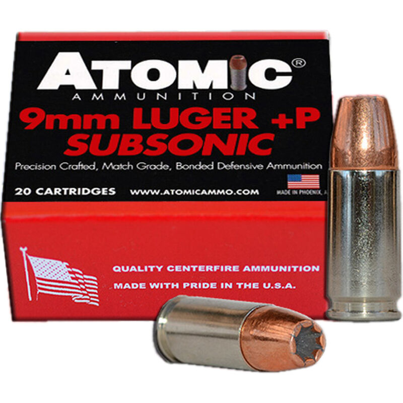 Atomic Ammunition 9mm Luger +P Subsonic 20 Rounds 165 Grain Bonded JHP  950fps