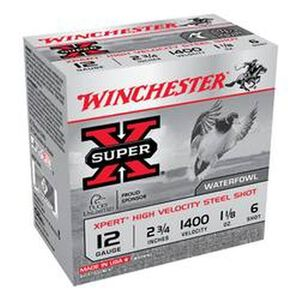 "Winchester Super X Expert 12 Gauge Ammunition 25 Rounds 2.75"" #6 Steel 1.125 Ounce WEX12H6"
