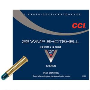 CCI Shotshell .22 WMR Ammunition 2,000 Rounds #12 Shot 52 Grain 1,000 Feet Per Second