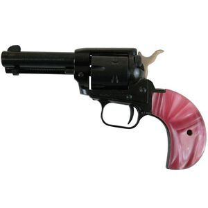 """Heritage Rough Rider Combo Revolver 22 LR/22 WMR 3.8"""" Barrel 6 Rounds Pink Pearl Grips Blued"""